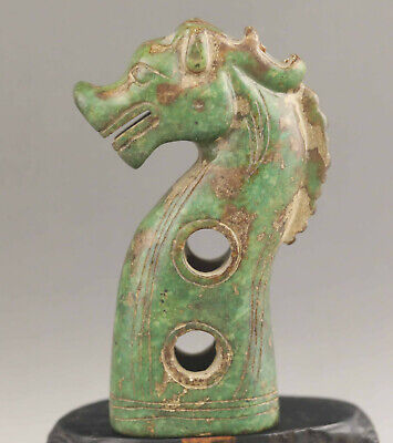Chinese old natural jade hand-carved dragon statue Walking stick head