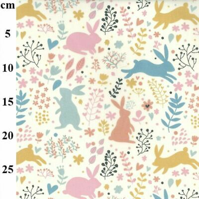 Polycotton Fabric Spring Bunnies Floral Flowers Colourful Rabbits Easter Bunny