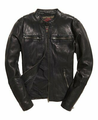 NEW SUPERDRY REAL Hero Leather Biker Jacket Size: M 38