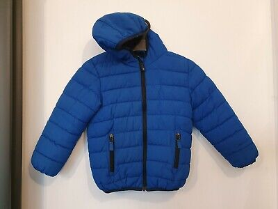 Next Blue Boys Winter Fleece Lined Coat Age 4-5 Years Hooded Padded Puffa
