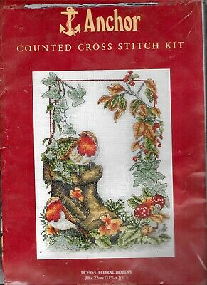 Anchor Counted Cross Stitch Kit Floral Robins PCE853 New