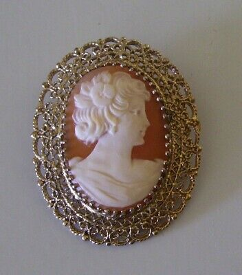 CAMEO Pin / Pendant Sterling Silver Filigree Lace Gold Wash CR Co. Charles Reis