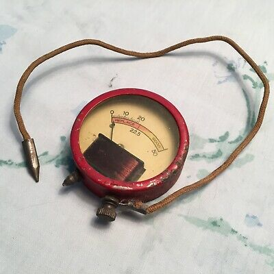Vintage Battery Tester, voltmeter, 50 volt, red, with cable, works good, Beede?