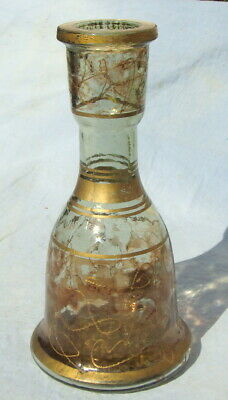 OTTOMAM Middle East thick gold gilded glass bottle 1700 - 1900, RARE