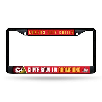Kansas City Chiefs Super Bowl LIV Champions BLACK Metal License Plate Frame