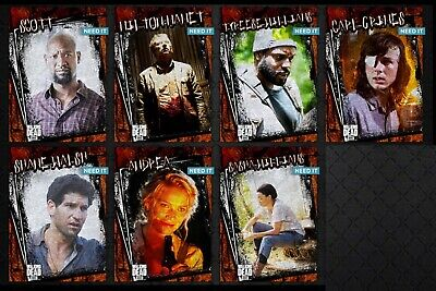 TWD RUSTIC WAVE 2 RUST VARIANT 7 CARD SET Topps WALKING DEAD DIGITAL TRADER