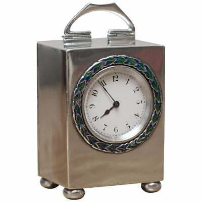 Sterling Silver Enamel Liberty's 1911 Archibald Knox Miniature Carriage Clock