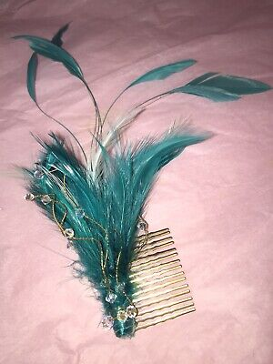 Jade Green Feather & Clear Bead Fascinator/Hair Clip