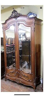 Elegant Hand Carved Rococo French Double Mirror Armoire with Key - Huge