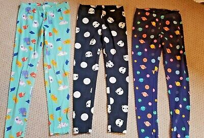 Lot of 3 Cat & Jack Leggings Pants Planets Bears Cats Girls Size L (10/12)