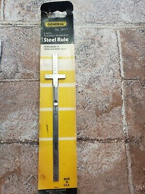 """General tools 6"""" stainless pocket rule #301/1 32nds and 64th inch Machinist USA"""