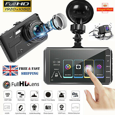 4'' 1080P Dual Lens Car DVR Touch Front and Rear Camera Video Dash Cam Recorder