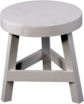 Small Wooden Three Legged Stool Shabby Chic Wood Round Step Toddler Seat Home pc