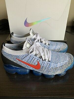 Nike Air Vapormax Flyknit 3 White Habanero Red Blue AJ6900-106 Men's Size 11