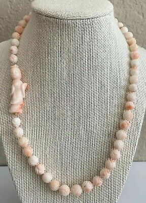 "Antique Carved Angel Skin Coral 19"" Necklace Chinese Estate Lot Jewelry"