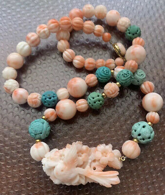 Antique Hand Carved Angel Skin Coral & Turquoise Bead necklace Sparrow Pendant