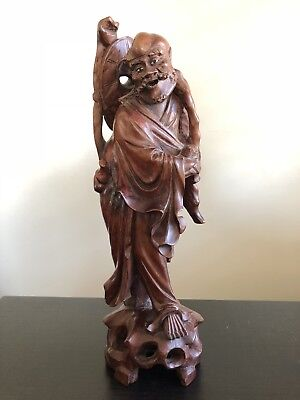 NICE Antique Chinese Carved Wood Statue Scholar Art Sculpture Lohan Robed Figure