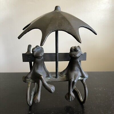 Vintage MCM Mid Century Modern Brass 2 Frogs Sitting on Bench Under Umbrella