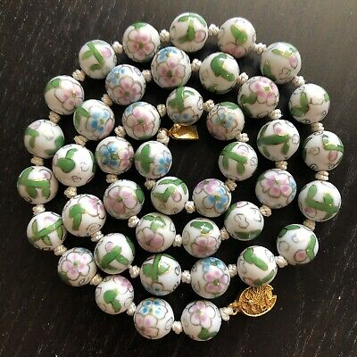 Fine Old Chinese Porcelain Painted Knotted Bead Necklace Scholar Art Gilt Clasp