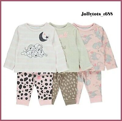 Disney Baby Girls Dumbo Bambi 101 Dalmatians Pyjamas Pack of 3 P.Js BNWT
