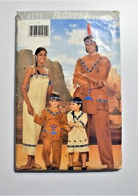 BUTTERICK #4171 MENS or LADIES INDIAN BRAVE /& MAIDEN COSTUME PATTERN  XS-XL FF