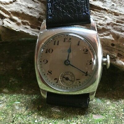 Silver gent's, Cushion case watch. Jackson of Southsea, 15 Jewel, sub dial.