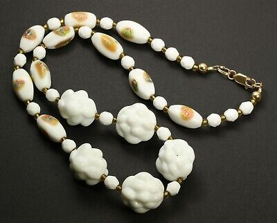 """Vintage Handmade Czech Molded White Milk End of Day Art Glass Bead Necklace 19"""""""