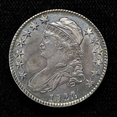 1823 50c CAPPED BUST HALF DOLLAR, SOME LUSTER! AU COIN *NORMAL 3* LOT#T782