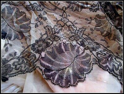 Antique Victorian 1900 French Silk Chantilly Lace Sample Fabric Trim Pc Tag