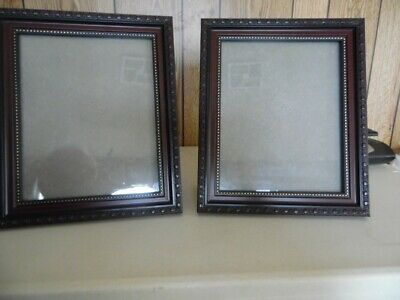 """TWO (2) Picture-Photo Frames Burgundy & Gold ~ 8.5 x 11"""" Nice Design"""