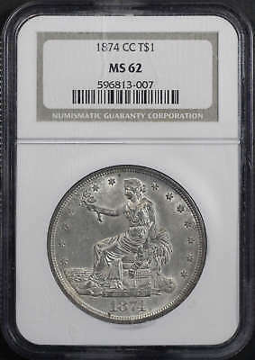 1874-CC Trade Dollar NGC MS-62
