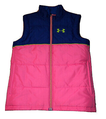 GIRLS UNDER ARMOUR COLD GEAR PUFFER VEST Pink & Blue YOUTH XS NICE!