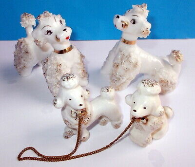 Vintage French Poodle Family Spaghetti Figurines White Gold Trim and Chains