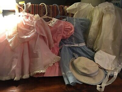 Vintage Little Girl Baby Dress Hat Bonnets Lot 4 Outfits 3 Hats Overcoats