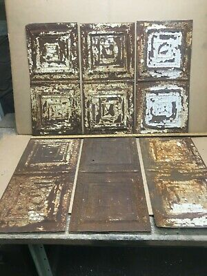 """6pc Lot 23"""" by 11"""" Antique Ceiling Tin Metal Reclaimed Salvage Art Craft"""