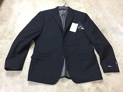 mens DKNY lexington italy wool mohair suit jacket coat black 44R regular 12-19