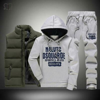 Winter Thick Warm Tracksuit Men 3 Piece Hooded Hoodies +Vest+Pant Casual Sweatsu