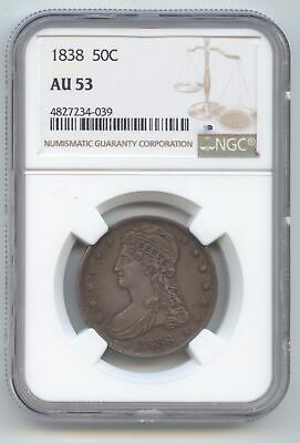 1838 Capped Bust Half Dollar, Reeded Edge, Sharp AU-53, NGC