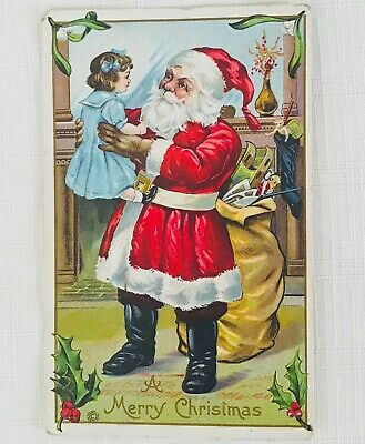 Antique Embossed Victorian Christmas Postcard - Santa Claus Holding Little Girl