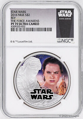 2016 Niue $2 Star Wars: The Force Awakens Rey Silver Coin NGC PF70 - White