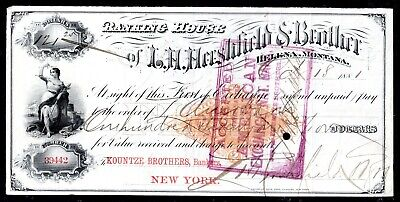 Bank Check - Revenue Stamped Paper - Banking House of L H Hershfield & Bro  1881