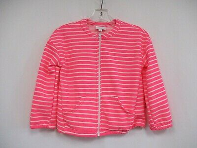 *NWT* LULAROE LLR Girls Neon Pink Striped Long Sleeve Zip Front Jacket Size 8