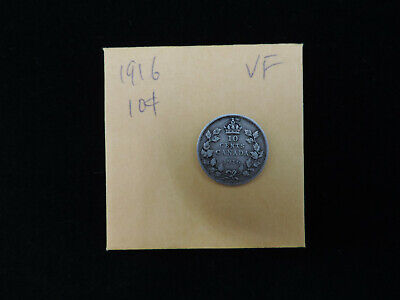 1916 10 Cent Coin Canada George V Ten Cents .925 Silver VF Grade