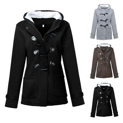 Womens Winter Warm Hooded Fur Fleece Lined Jacket Outweaer Coat Parka Overcoat