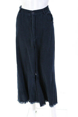 Kendall + Kylie  Womens Fray Wide Leg Pants Blue Size Large 10863674
