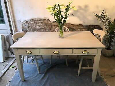 Antique Oak  5.5 Foot Kitchen Dining Table With Drawers And Brass Handles