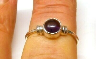 Handmade 925 Solid Sterling Silver Real Amethyst Simple Round Stone Ring Size L