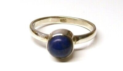 Handmade 925 Solid Sterling Silver Real Lapis Lazuli Simple Stone Ring Size L