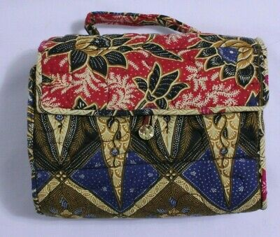 Cosmetic Roll Up Travel Bag Quilted Floral Make Up Organizer