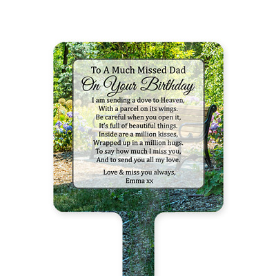 Personalised Happy Birthday Dad Memorial Card Ground Stake Grave Stone Bench